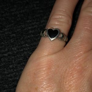 Sterling silver and black onyx heart ring